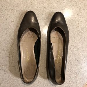 Salvatore Ferragamo Metallic Brown Leather Flats